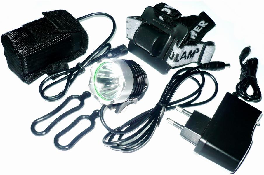 Фонарь передний VLX 1 диод, 4 режима, 10Вт, 1000Lm, аккумулятор 6Ач, зарядник 8,4v, AL корпус, крепёж на руль и голову, VLX-1458,чёрно-серебристый   а