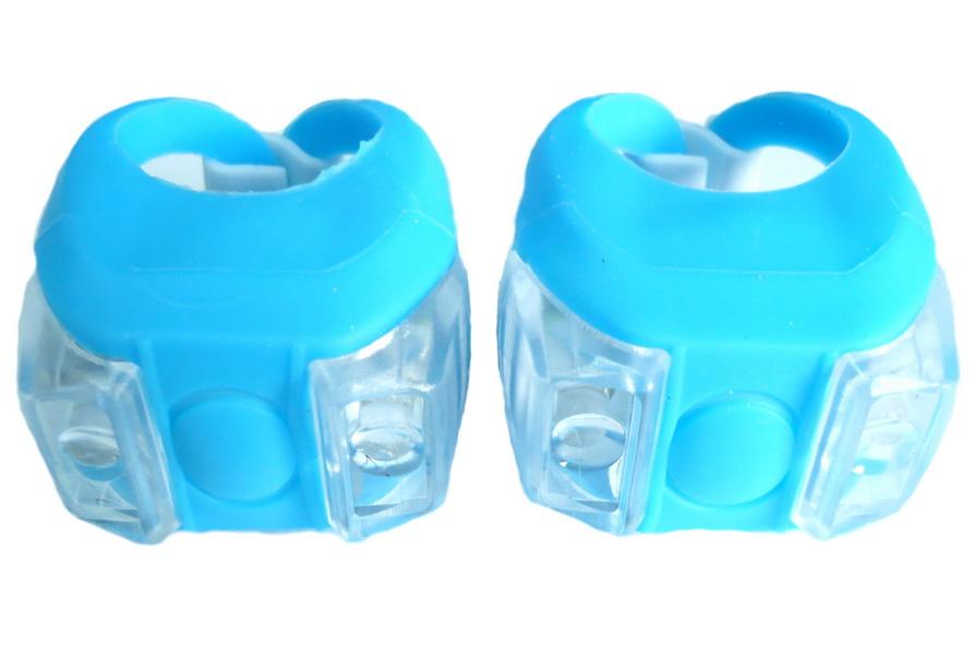 Фонарь задний + передний Vinca Sport 2 диода, 4 режима, силикон, с батарейками, VL 215, голубой   v