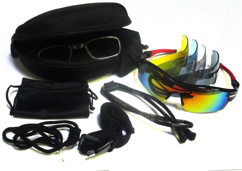 Велоформа Очки Cigna XS-002, оправа чёрно-красная, линзы поликарбонат UV400 - серые, прозрачные, голубые, жёлтые + оправа для диоптрий