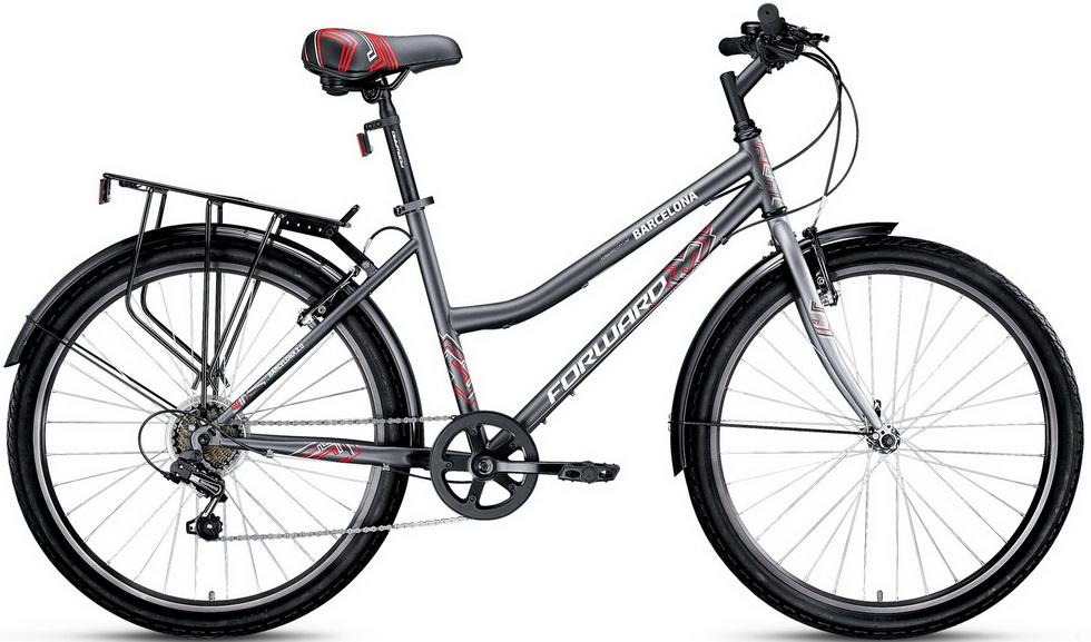 "Велосипед 26"" Forward Barcelona 2.0 (17"") 7ск, St, V-br, тёмно-серый матовый, 2017г."