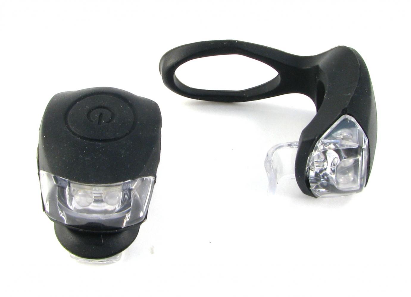 Фонарь задний + передний Vinca Sport 2 диода, 3 режима, силикон, с батарейками, VL 267-2B, чёрный   v
