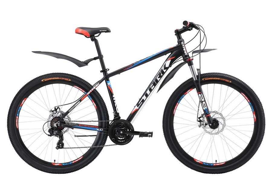 """Велосипед 29"""" Stark Hunter 29.2 D, (20"""") 21ск, AL, Disc, чёрный-оранжево-голубой, модель 2018"""