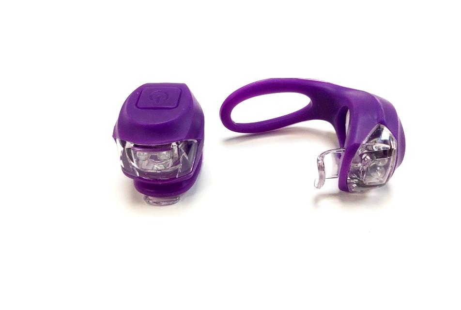 Фонарь задний + передний Vinca Sport 2 диода, 3 режима, силикон, с батарейками, VL 267-2B, фиолетовый   v