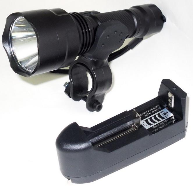 Фонарь передний UltraFire 1 диод, 4 режима, аккумулятор, зарядник, WYH-C8, чёрный   ш