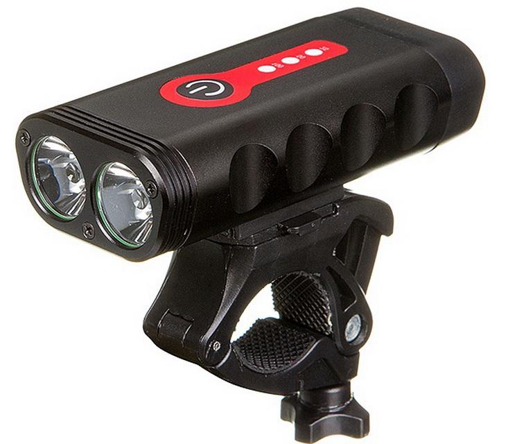 Фонарь передний STG 2 диода, 6 режимов, 600Lm, аккумулятор 4400 мАч, USB для зарядки, AL корпус, FL-1582, чёрный