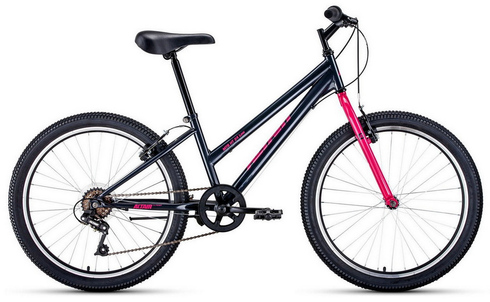 "Велосипед 24"" Altair MTB HT 6ск, St, V-br, серо-розовый ""low"""