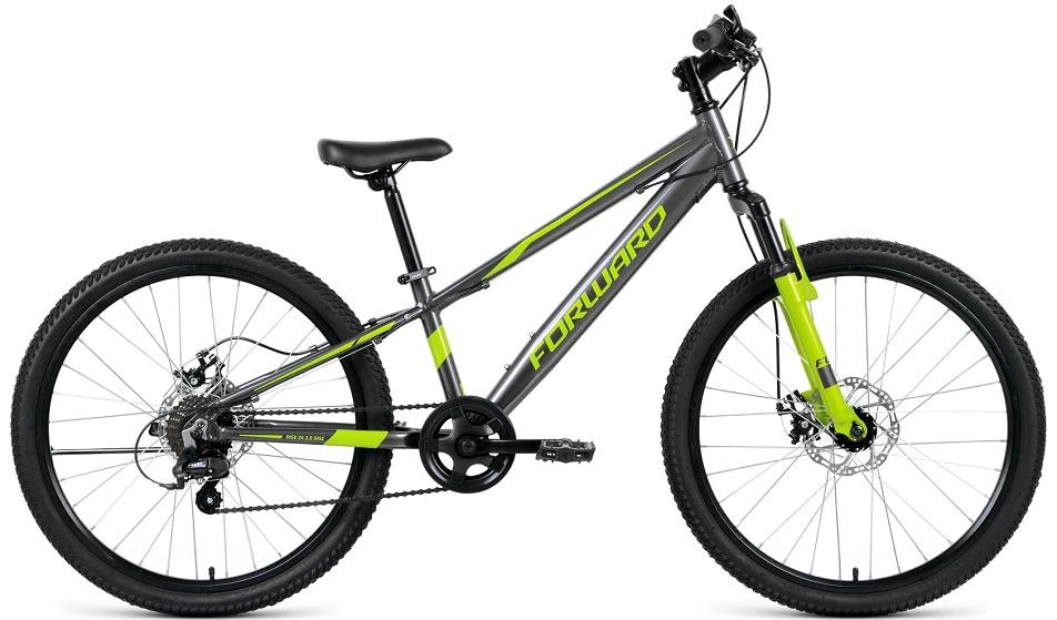 "Велосипед 24"" Forward Rise 2.0 7ск, алюминиевая рама, Disc, серо-зелёный, 2021г."