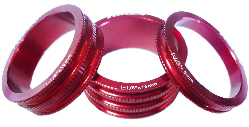 """Кольцо рулевой колонки 1-1/8"""" Н=5/10/15 Token TKA-1231 облегчённое, AL, красное (3шт.)   а"""