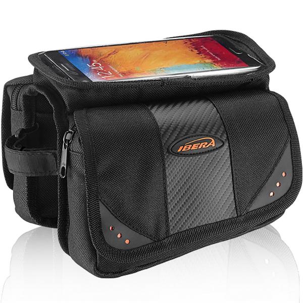 "Сумка на раму Ibera, IB-ТB7, ""мини-штаны"", с карманом для IPhone, чёрно-оранжевая   а  **"