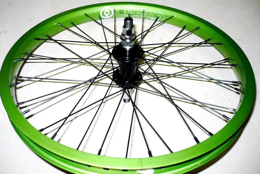 """Колесо заднее 20"""" Primo Balance зелёный 36Н + ВМХ OLD-110мм, Ø14мм, на гайках Chosen A2025В AL чёрная ПРОМПОДШИПНИКИ  **"""