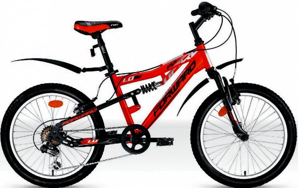 """Велосипед 20"""" Forward Buran 1.0 6ск, 2-х подвес, St, V-br, красно-чёрный"""