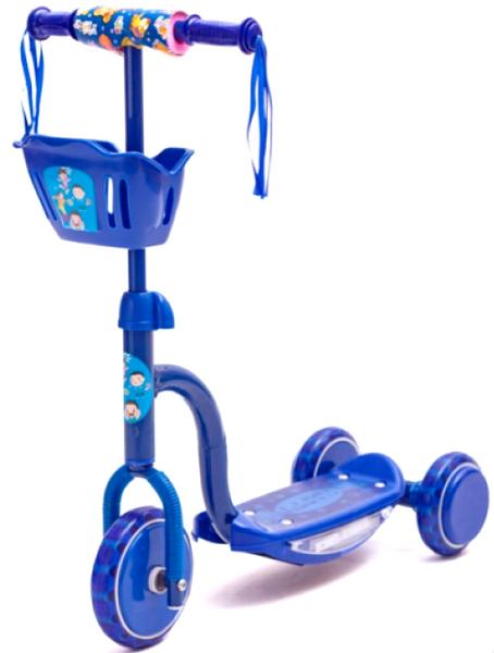 Самокат 14-R11789 (150x115мм), 3-х колёсный, дека с подсветкой и музыкой, синий