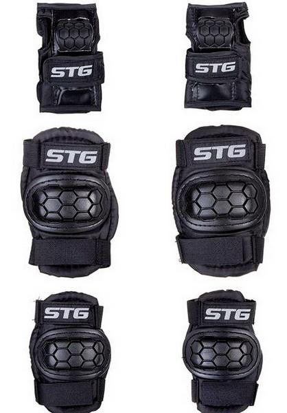 Велоформа Защита детская STG, YX-0303, р.S, набор (колени+локти+кисти), чёрная   г