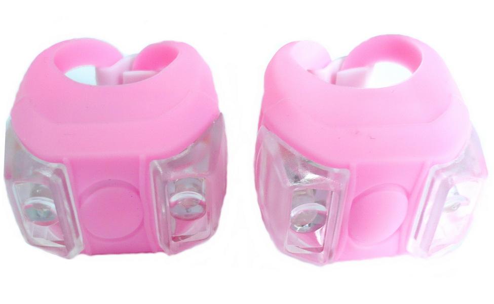 Фонарь задний + передний Vinca Sport 2 диода, 4 режима, силикон, с батарейками, VL 215, розовый   v