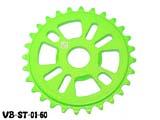 """Звезда BMX 25Т 1/2""""х1/8"""" 7мм VB VB-ST01-60 фрезерованная, AL-6061 T6, ярко-зелёная"""
