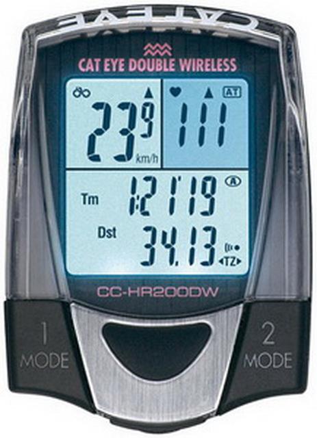 Велокомпьютер Cateye, CC-HR200DW, 13 функций, беспроводной, с подсветкой+пульсометр   *