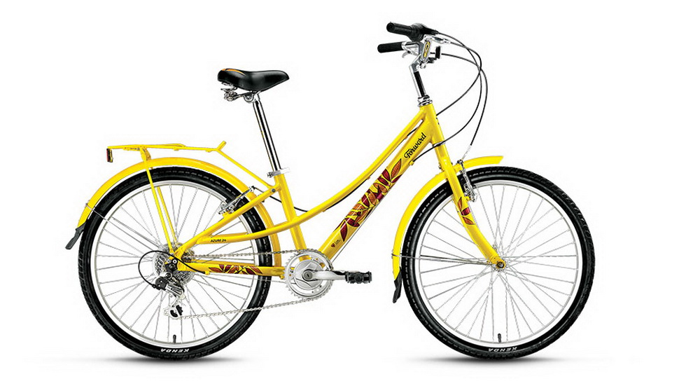 "Велосипед 24"" Forward Azure 7ск, алюминиевая рама, V-br, жёлтый"