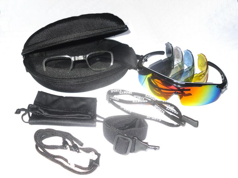 Велоформа Очки Cigna XS-003, оправа чёрная, линзы поликарбонат UV400 - хамелеон, серые, прозрачные, голубые, жёлтые + оправа для диоптрий