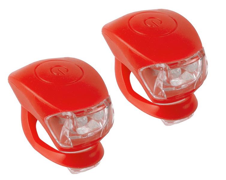 Фонарь задний + передний M-Wave 2 диода, 3 режима, силикон, с батарейками, Cobra IV, красный