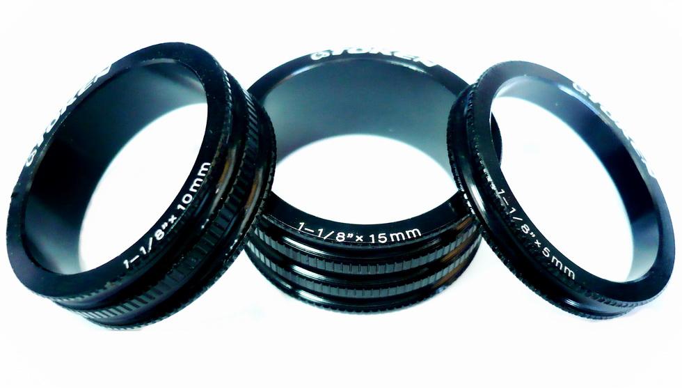 """Кольцо рулевой колонки 1-1/8"""" Н=5/10/15 Token TKA-1231 облегчённое, AL, чёрное (3шт.)   а"""