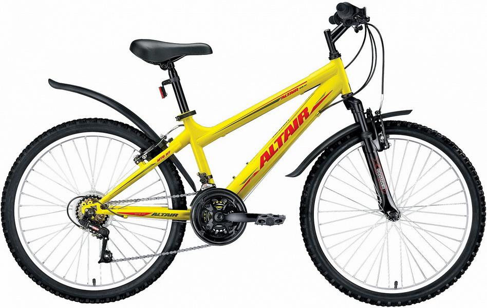 """Велосипед 24"""" Altair MTB HT JR 18ск, St, V-br, жёлтый"""