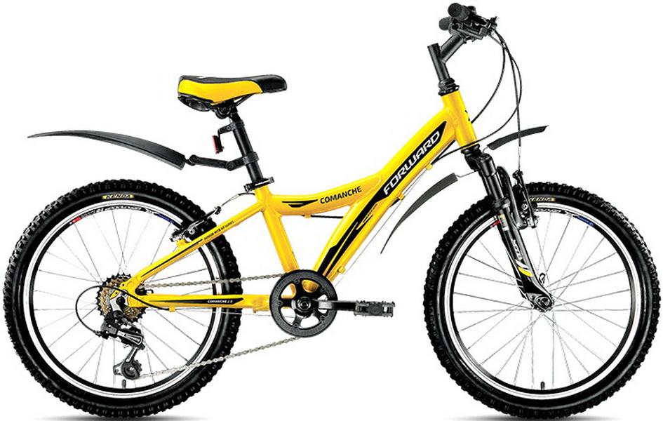 """Велосипед 20"""" Forward Comanche 2.0 6ск, алюминиевая рама, V-br, жёлтый, 2018г."""