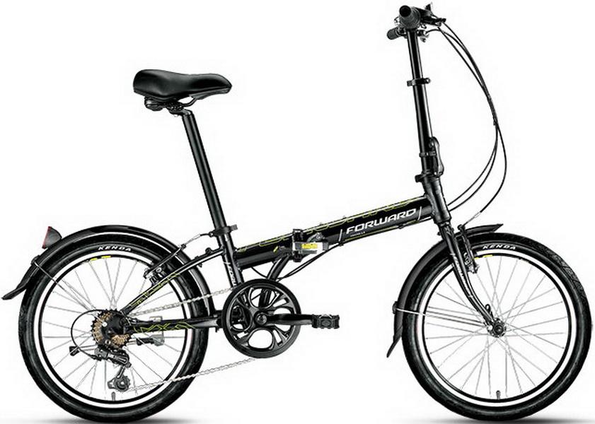 """Велосипед 20"""" Forward Enigma 2.0 7ск, складной, AL, V-br, чёрный, 2018г."""