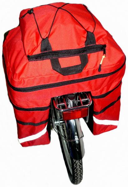 """Сумка на багажник Course, вр021.030, 30л, """"штаны"""", красная"""