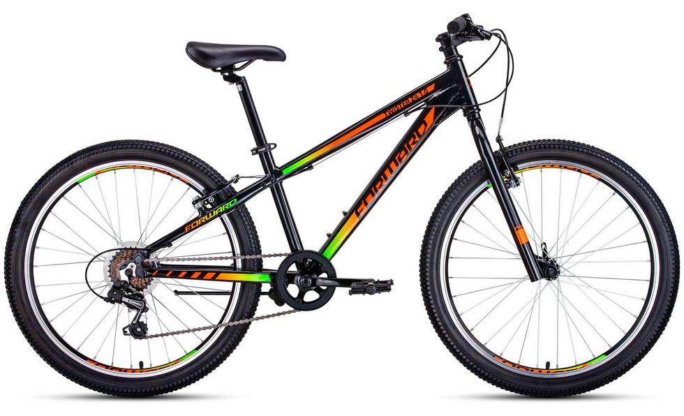 """Велосипед 24"""" Forward Twister 1.0 7ск, алюминиевая рама, V-br, оранжево-чёрный    скидка 40%"""