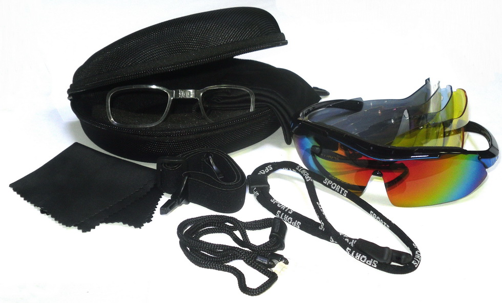 Велоформа Очки Cigna XS-818, оправа чёрно-синяя, линзы поликарбонат UV400 - хамелеон, серые, прозрачные, голубые, жёлтые + оправа для диоптрий