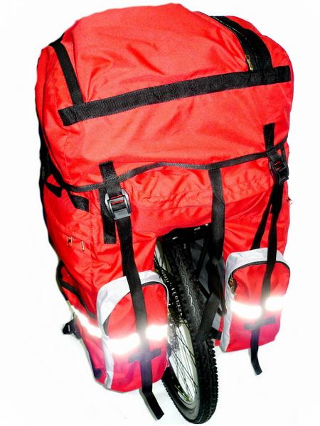 """Сумка на багажник Course, вр051.100, 80-100+л, """"штаны"""", красная"""