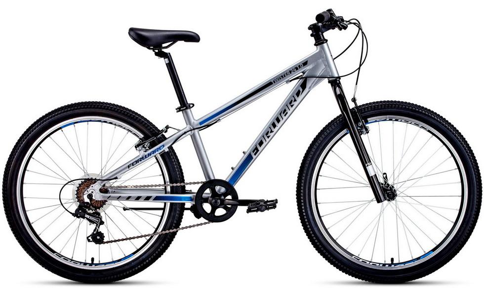 """Велосипед 24"""" Forward Twister 1.0 7ск, алюминиевая рама, V-br, серо-чёрный   скидка 20%"""