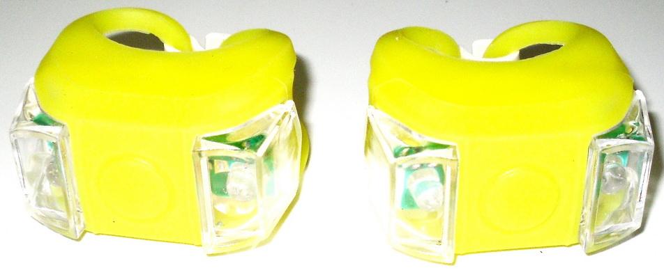 Фонарь задний + передний 2 диода, 3 режима, силикон, с батарейками, HL-009-2YL, жёлтые   п