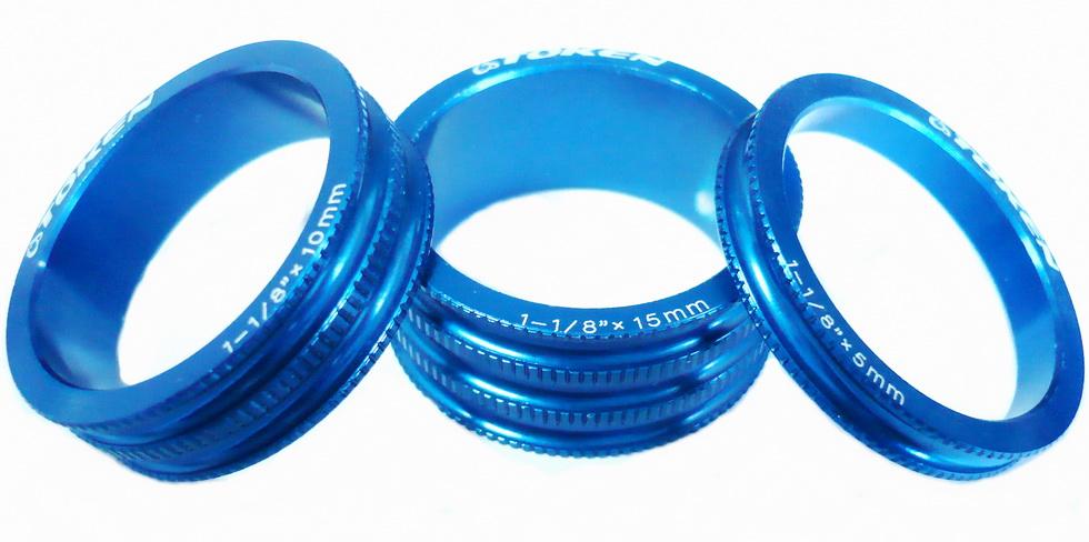 """Кольцо рулевой колонки 1-1/8"""" Н=5/10/15 Token TKA-1231 облегчённое, AL, синее (3шт.)   а"""