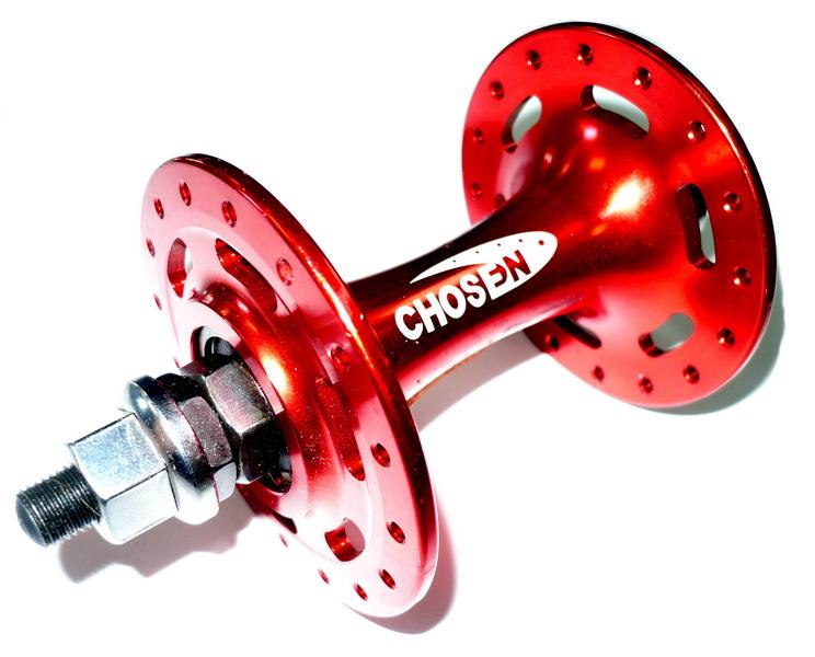 Втулка TRACK FIX передняя 32Н, OLD-100мм, Ø09мм Cr-Mo, на гайках, 2 прома, Chosen, А3633BN, AL, красная   а (Фото)