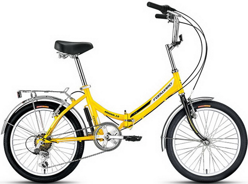 "Велосипед 20"" Forward Arsenal 2.0 6ск, складной, St, V-br, жёлтый, 2017г."