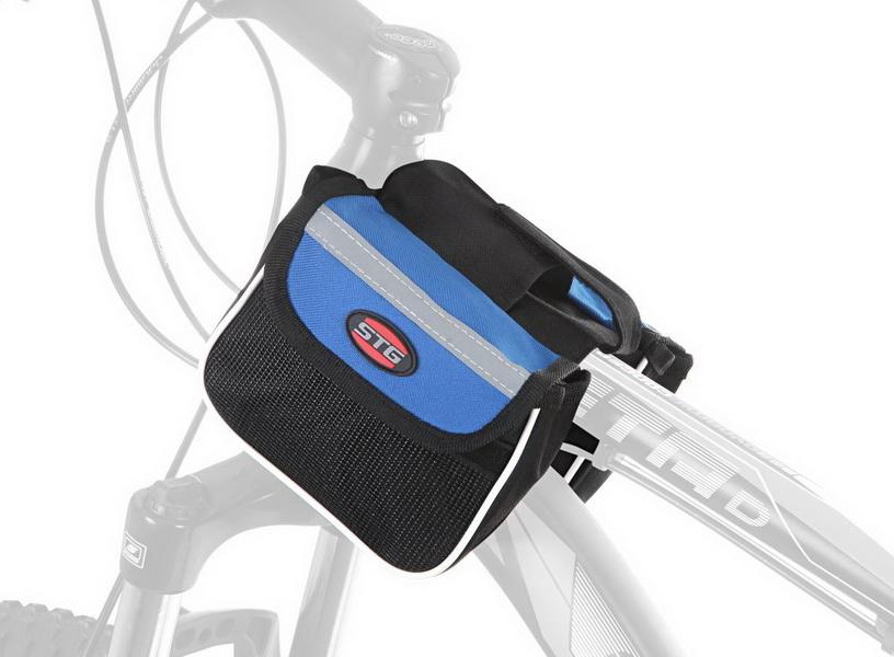 """Сумка на раму STG, 12009, """"мини-штаны"""", со светоотрожающими полосами, с карманом для телефона, сине-чёрная   г"""