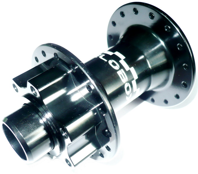 Втулка DH передняя 36Н, OLD-110мм, Ø20мм, под диск. тормоз, 2 прома, Velobox, VBYH-267F, AL, чёрная   а