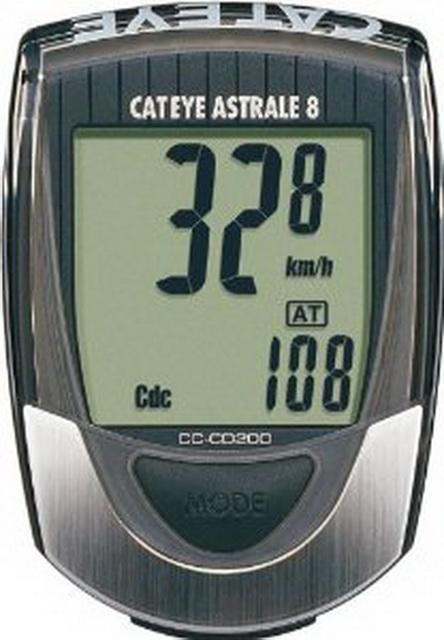 Велокомпьютер Cateye, CC-CD200, Astrale-8, 8 функций, с датчиком педалирования   *