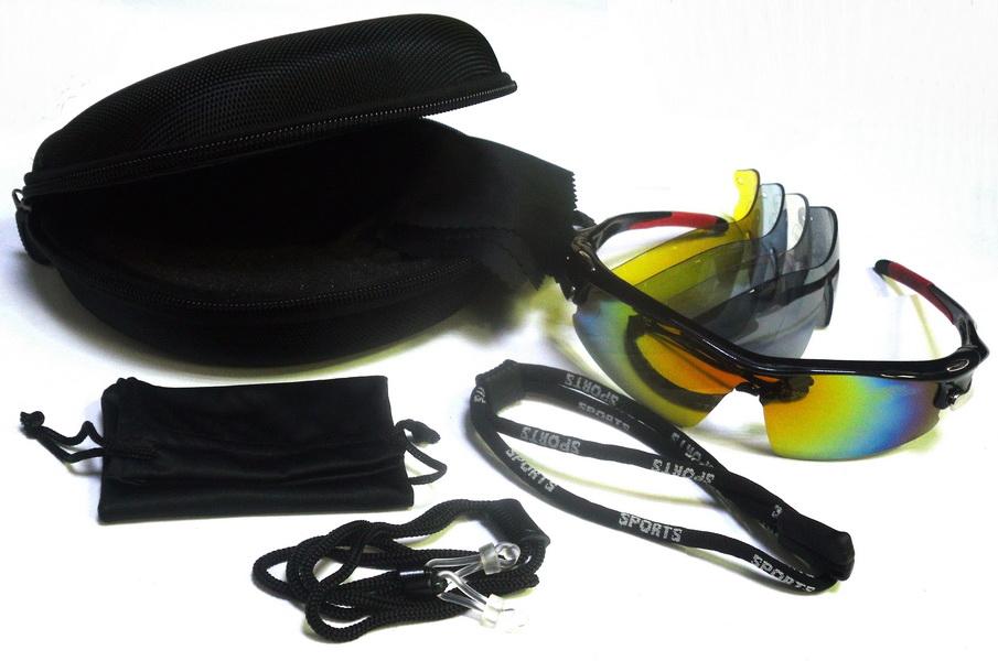 Велоформа Очки Cigna XS-005, оправа чёрно-красная, линзы поликарбонат UV400 - хамелеон, серые, прозрачные, голубые, жёлтые