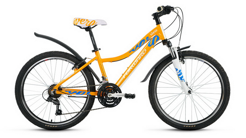 "Велосипед 24"" Forward Rivera 1.0 18ск, алюминиевая рама, V-br, жёлтый"