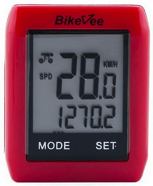Велокомпьютер Bike Vee, BKV-6000, 10 функций, беспроводной, сенсорный, красный