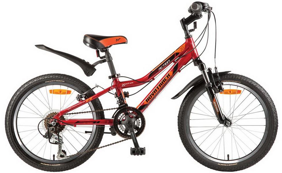"""Велосипед 20"""" Novatrack Action, 12ск, алюминиевая рама, красный"""