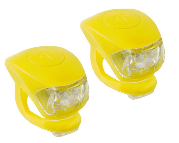 Фонарь задний + передний M-Wave 2 диода, 3 режима, силикон, с батарейками, Cobra IV, жёлтый