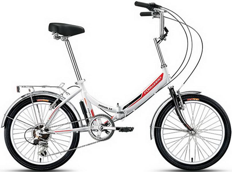 "Велосипед 20"" Forward Arsenal 2.0 6ск, складной, St, V-br, белый, 2018г."