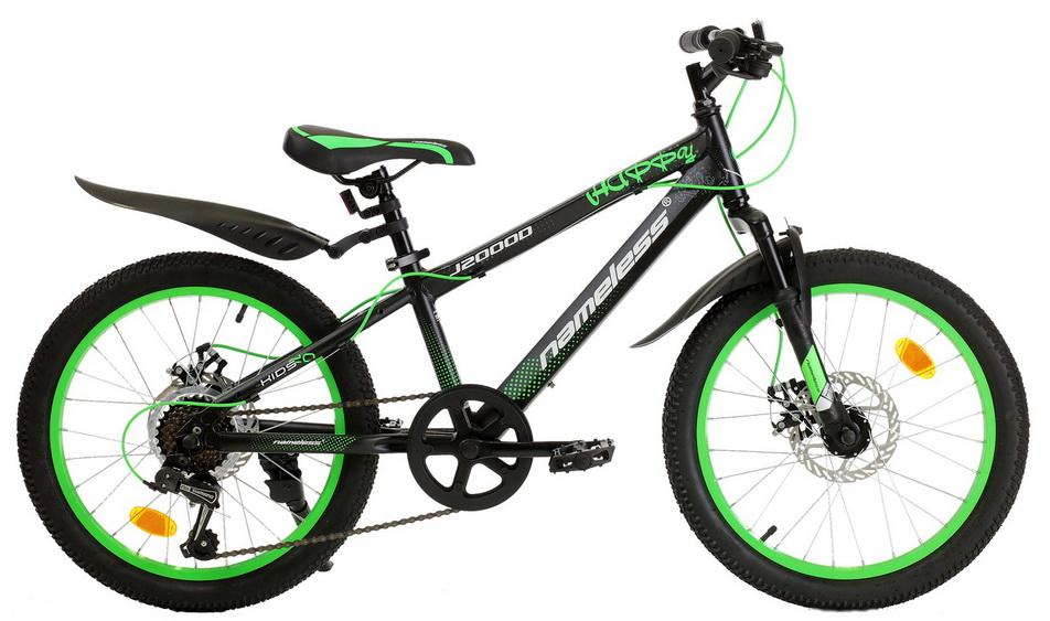 "Велосипед 20"" Nameless J2000D 7ск, алюминиевая рама, Disc, чёрно-зелёный"