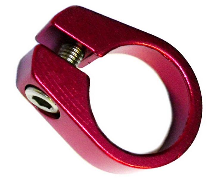 Хомут седла Ø28.6 с болтом, Y05-05, AL, красный