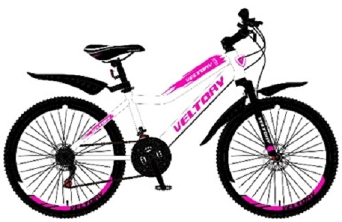 "Велосипед 24"" Veltory 24V-4004 (11"") 6ск, St, V-br, бело-розовый, 2021г."