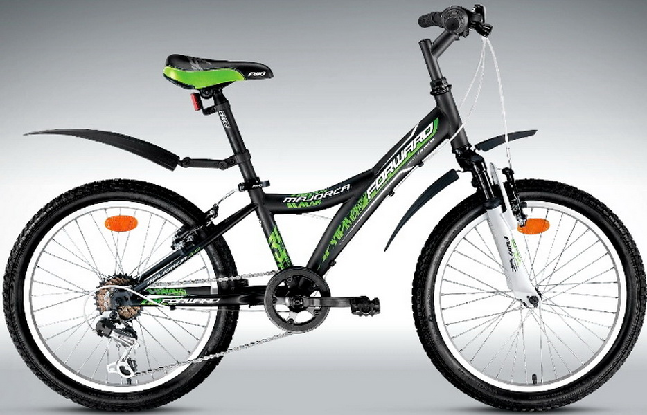 "Велосипед 20"" Forward Majorca 3.0 6ск, St, V-br, чёрно-зелёный"