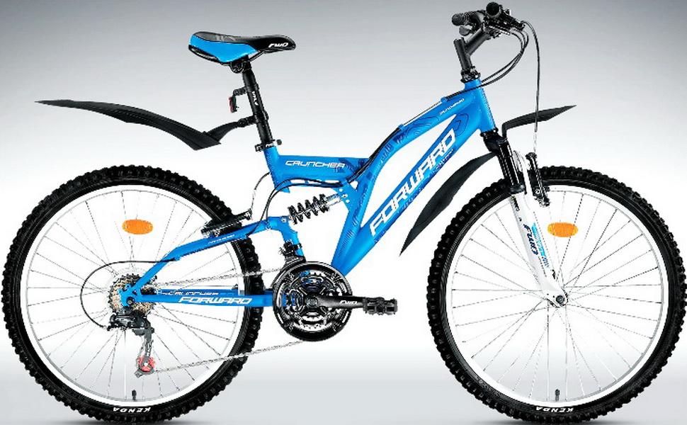 "Велосипед 24"" Forward Cruncher 2.0 18ск, 2-х подвес, St, V-br, синий"